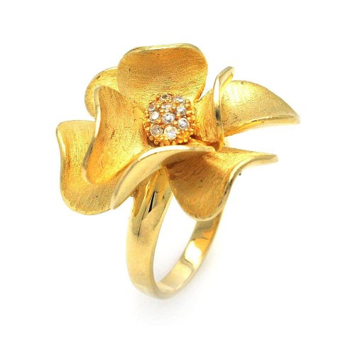 -Closeout- Wholesale Sterling Silver 925 Gold Plated CZ Flower Ring - STR00576