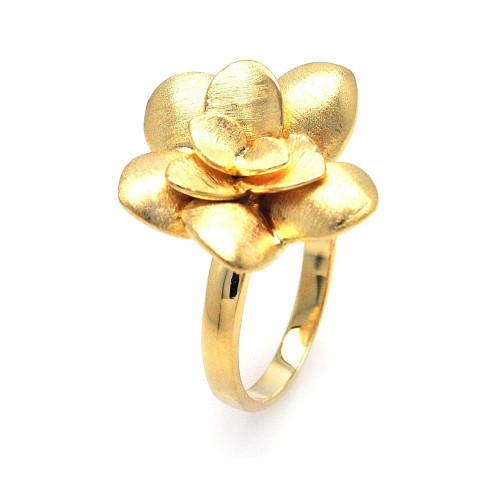 -Closeout- Wholesale Sterling Silver 925 Gold Plated Flower Ring - STR00577