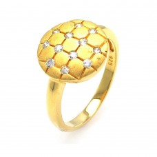**Closeout** Sterling Silver Gold Plated CZ Circle Mosaic Ring str00585