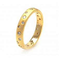 Sterling Silver Gold Plated CZ Eternity Ring - STR00587