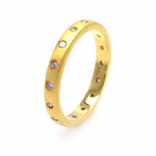 Sterling Silver Gold Plated CZ Stackable Eternity Ring - STR00588