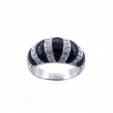 **Closeout** Sterling Silver Rhodium Plated Black Onyx CZ Stripe Ring str00590