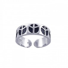 **Closeout** Sterling Silver Rhodium & Black Rhodium Plated Adjustable Peace Sign Ring str00594