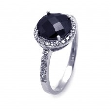 **Closeout** Sterling Silver Rhodium Plated Black Center & Clear Cluster CZ Ring str00601