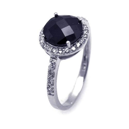 -Closeout- Wholesale Sterling Silver 925 Rhodium Plated Black Center and Clear Cluster CZ Ring - STR00601