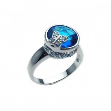 Sterling Silver Rhodium Plated Blue Center CZ Butterfly Ring str00609