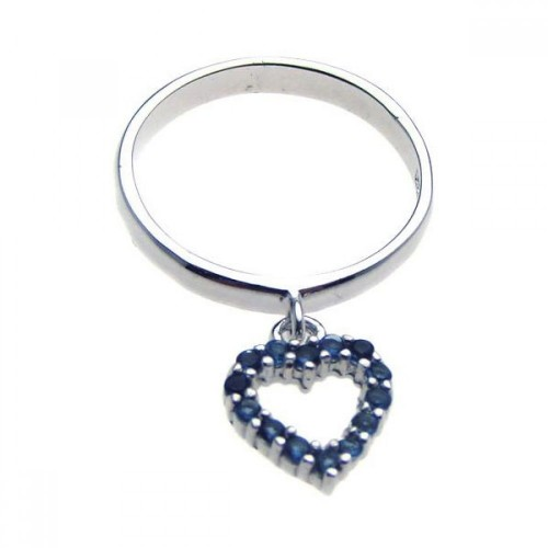 -Closeout- Wholesale Sterling Silver 925 Rhodium Plated Hanging Blue CZ Heart Ring - STR00610