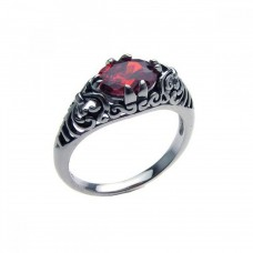Sterling Silver Oxidized Rhodium Plated Red CZ Antique Ring - STR00611