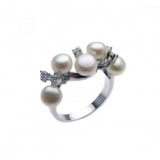 Sterling Silver Rhodium Plated CZ Multiple Fresh Water Pearl Ring - STR00612