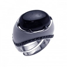 **Closeout** Sterling Silver Rhodium & Black Rhodium Plated Black Onyx & Black CZ Dome Ring str00615