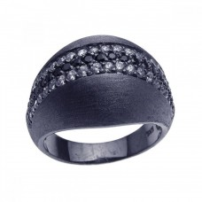 **Closeout** Sterling Silver Black Rhodium Plated Matte Finish Black & Clear CZ Ring str00616