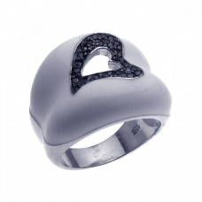 **Closeout** Sterling Silver Rhodium & Black Rhodium Plated White Enamel Pave Set Black CZ Heart Ring str00618