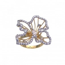 Sterling Silver Gold Plated CZ Open Flower Ring - STR00619