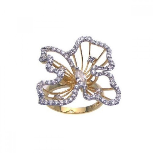 Wholesale Sterling Silver 925 Gold Plated CZ Open Flower Ring - STR00619