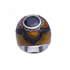 **Closeout** Sterling Silver Rhodium & Black Rhodium Plated Brown Enamel Black CZ Dome Ring str00622