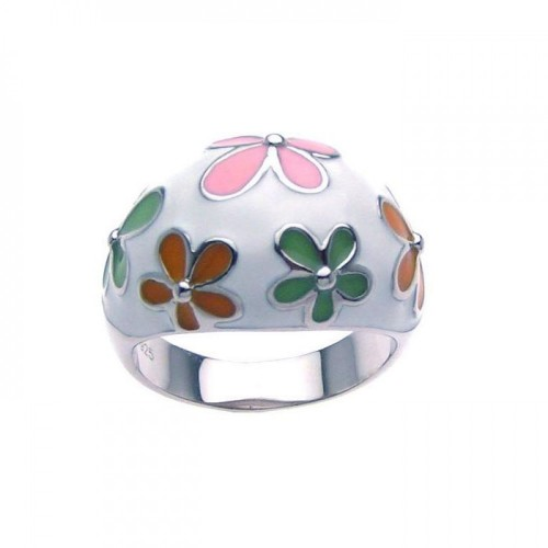 -Closeout- Wholesale Sterling Silver 925 Rhodium Plated Multi Colored Enamel Flower Dome Ring - STR00626