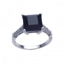 Sterling Silver Rhodium Plated Black Square Center Pave Set Clear CZ Ring str00635