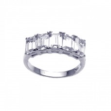 **Closeout** Sterling Silver Rhodium Plated Clear Baguette 5 Stone Set CZ Ring str00636