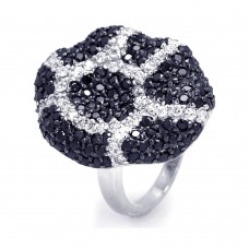 **Closeout** Sterling Silver Rhodium and Black Rhodium Plated Black and Clear CZ Ring - STR00644
