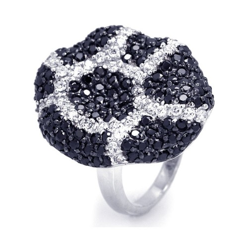 -Closeout- Wholesale Sterling Silver 925 Rhodium and Black Rhodium Plated Black and Clear CZ Ring - STR00644