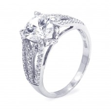 Sterling Silver Rhodium Plated Clear Center CZ Ring str00646