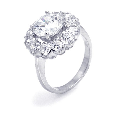 -Closeout- Wholesale Sterling Silver 925 Rhodium Plated Round Center Cluster CZ Flower Ring - STR00649