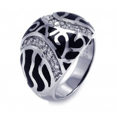 **Closeout** Sterling Silver Rhodium Plated Black Enamel CZ Swirl Dome Ring STR00662