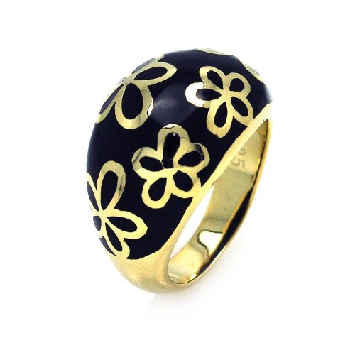 -Closeout- Wholesale Sterling Silver 925 Gold Plated Black Enamel Flower Dome Ring - STR00663
