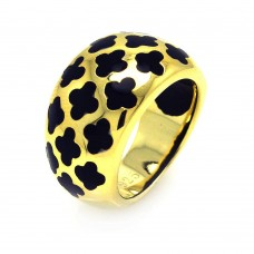 **Closeout** Sterling Silver Gold Plated Black Enamel Clover Ring str00665