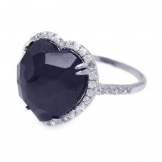 **Closeout** Sterling Silver Rhodium Plated Black Center and Cluster CZ Heart Ring - STR00670