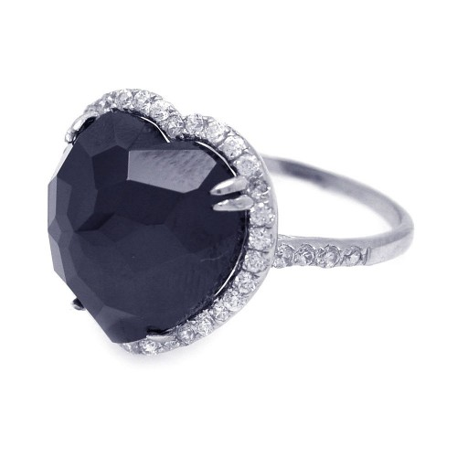 -Closeout- Wholesale Sterling Silver 925 Rhodium Plated Black Center and Cluster CZ Heart Ring - STR00670