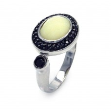 **Closeout** Sterling Silver Rhodium and Black Rhodium Plated Pearl Center Black Cluster CZ Ring - STR00671