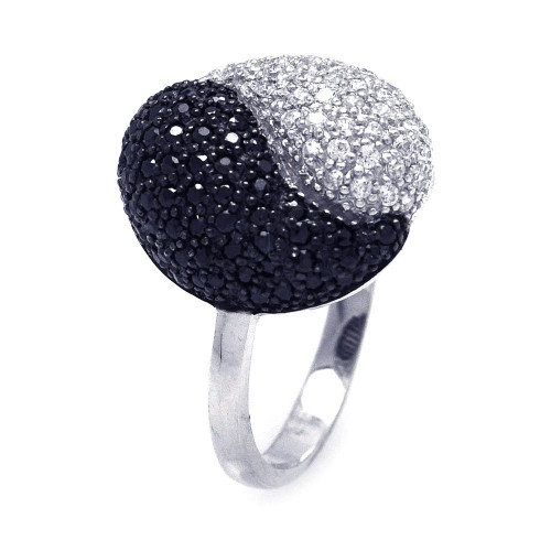 -Closeout- Wholesale Sterling Silver 925 Rhodium and Black Rhodium Plated Black and Clear CZ Yin Yang Ring - STR00674
