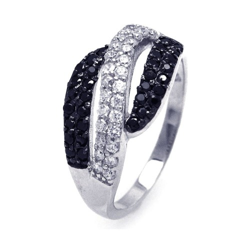 -Closeout- Wholesale Sterling Silver 925 Rhodium and Black Rhodium Plated Black and Clear CZ Wave Ring - STR00676