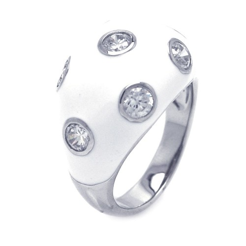-Closeout- Wholesale Sterling Silver 925 Rhodium Plated White Enamel CZ Dot Dome Ring - STR00681