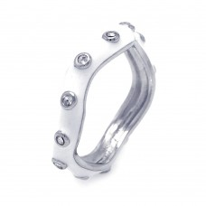 **Closeout** Wholesale Sterling Silver 925 Rhodium Plated White Enamel CZ Wavy Ring - STR00686