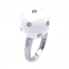 **Closeout** Wholesale Sterling Silver 925 Rhodium Plated White Enamel CZ Ball Ring - STR00687