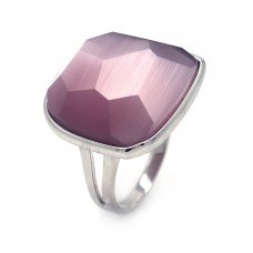 **Closeout** Wholesale Sterling Silver 925 Rhodium Plated Square Purple CZ Ring - STR00689