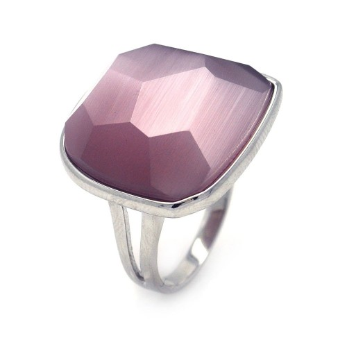 -Closeout- Wholesale Sterling Silver 925 Rhodium Plated Square Purple CZ Ring - STR00689