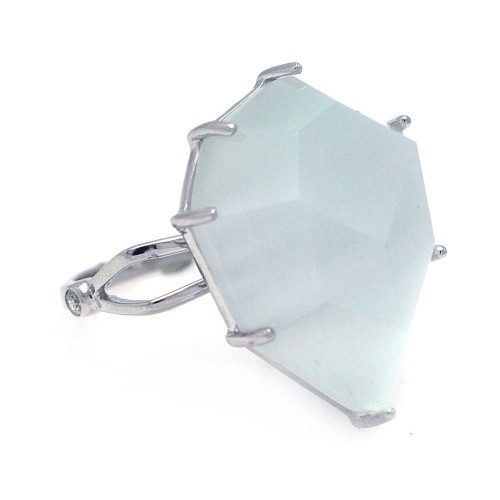 -Closeout- Wholesale Sterling Silver 925 Rhodium Plated White Cat's Eye Ring - STR00691