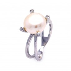 Wholesale Sterling Silver 925 Rhodium Plated Pearl Center CZ Ring - STR00693