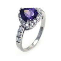 Wholesale Sterling Silver 925 Rhodium Plated Purple and Clear Cluster CZ Heart Ring - STR00698PUR