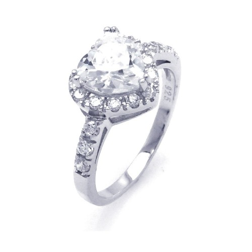 Wholesale Sterling Silver 925 Rhodium Plated Clear Cluster CZ Heart Bridal Ring - STR00698CLR