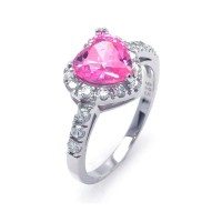 Wholesale Sterling Silver 925 Rhodium Plated Pink and Clear Cluster CZ Heart Ring - STR00698PNK