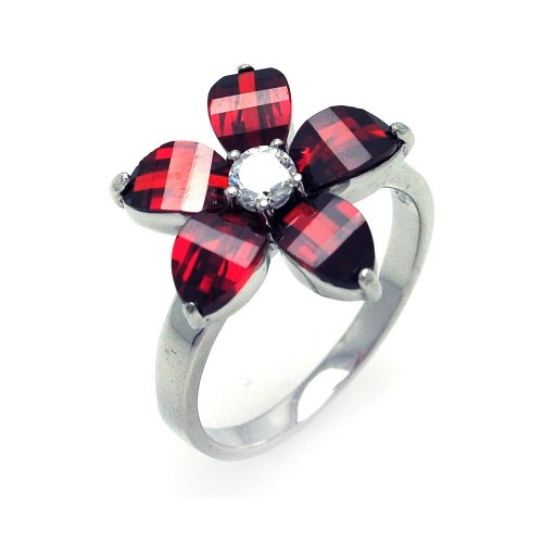 -Closeout- Wholesale Sterling Silver 925 Rhodium Plated Red and Clear CZ Flower Ring - STR00699