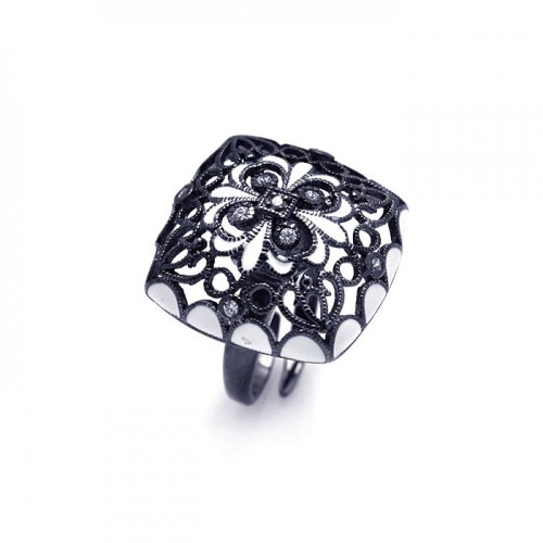 -Closeout- Wholesale Sterling Silver 925 Black Rhodium Plated Clear CZ Flower Ring - STR00700