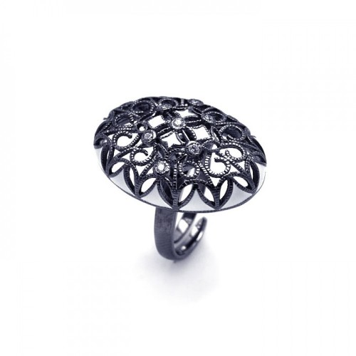 -Closeout- Wholesale Sterling Silver 925 Black Rhodium Plated Clear CZ Oval Flower Ring - STR00701