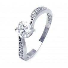 Sterling Silver Rhodium Plated Channel Set CZ Wave Ring str00780