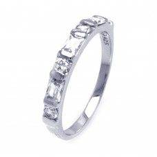 Sterling Silver Rhodium Plated Clear Baguette CZ Ring str00785