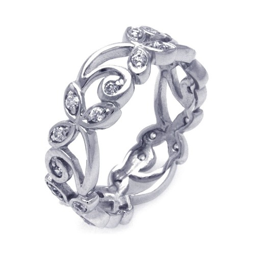 Wholesale Sterling Silver 925 Rhodium Plated CZ Flower Eternity Ring - STR00786